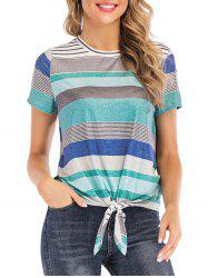 Multicolor Striped High Low Tee -