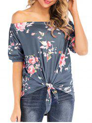Off Shoulder Floral Print High Low Tee -