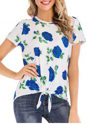 Floral Print Knotted Short Sleeves Tee -