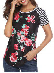 Striped Floral Print Raglan Sleeves Tee -