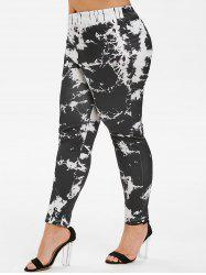 Marble Print High Waisted Skinny Plus Size Pants -