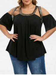 Plus Size Sequined Open Shoulder Cut Out Tunic Tee -