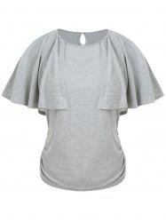 Keyhole Back Ruched Capelet T-shirt -