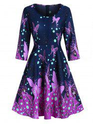 Butterfly Print Fit And Flare Zippered Dress -