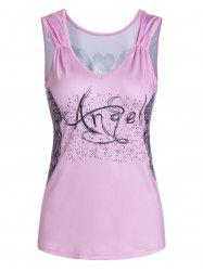 Cut Out Wing Print Plunge Tank Top -