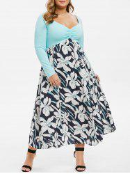 Plus Size Pleated Front Raglan Sleeve Floral Dress -
