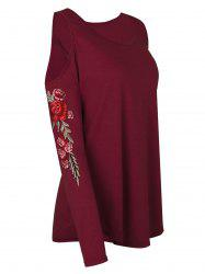 Plus Size Open Shoulder Floral Embroidery Curved Tee -