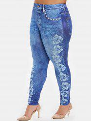 Plus Size Butterfly Print High Waisted Jeggings -