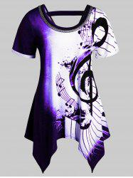 Plus Size Musical Notes Print Handkerchief Chains Embellished Tee -