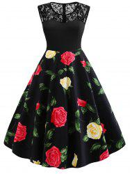 Plus Size Lace Insert Floral Pin Up Dress -