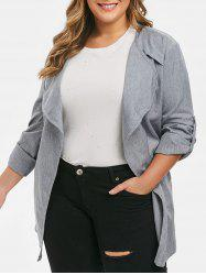 Plus Size Open Front Belted Rolled Sleeve Long Jacket -