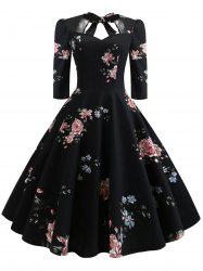 Plus Size Back Tie Floral Vintage Flare Dress -