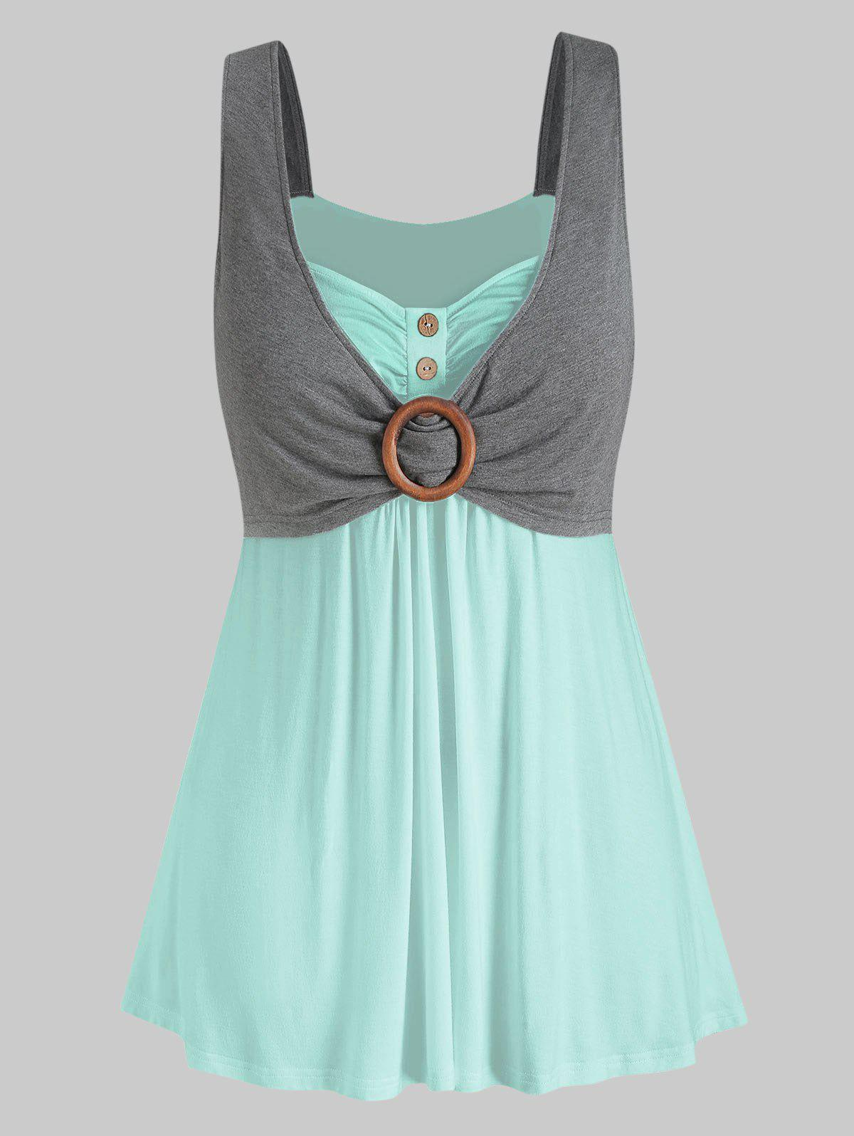 Buy Plus Size Contrast Sweetheart Collar Button Tank Top