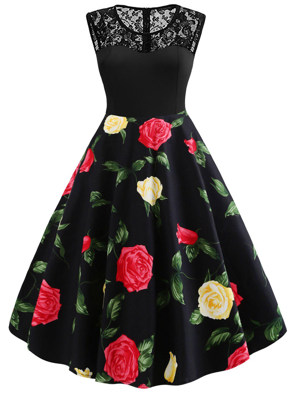 Fashion Plus Size Lace Insert Floral Pin Up Dress