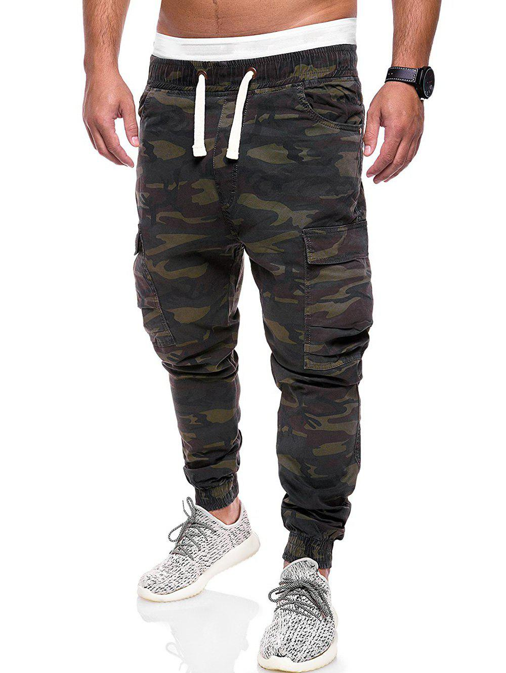 Camouflage Print Multi Pockets Cargo Jogger Pants, Dark forest green