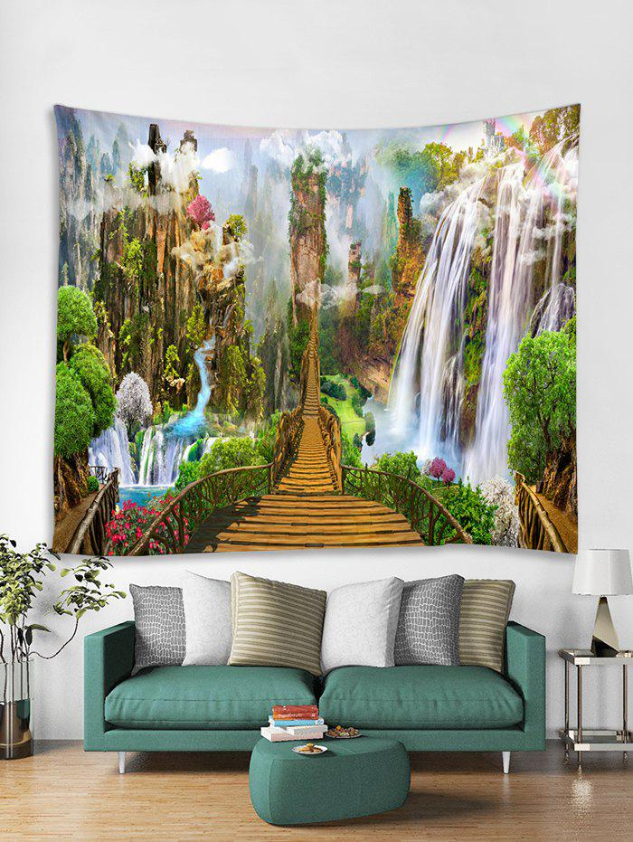 Fancy Mountain Waterfall Bridge Print Tapestry Wall Hanging Art Decoration