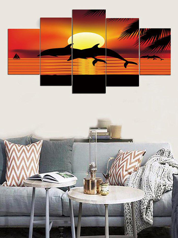 5pcs 3d Sunset Dolphin Hanging Wall Painting