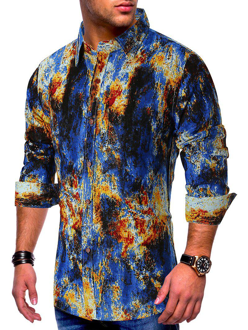 Discount Colored Ink Painting Splatter Print Button Shirt