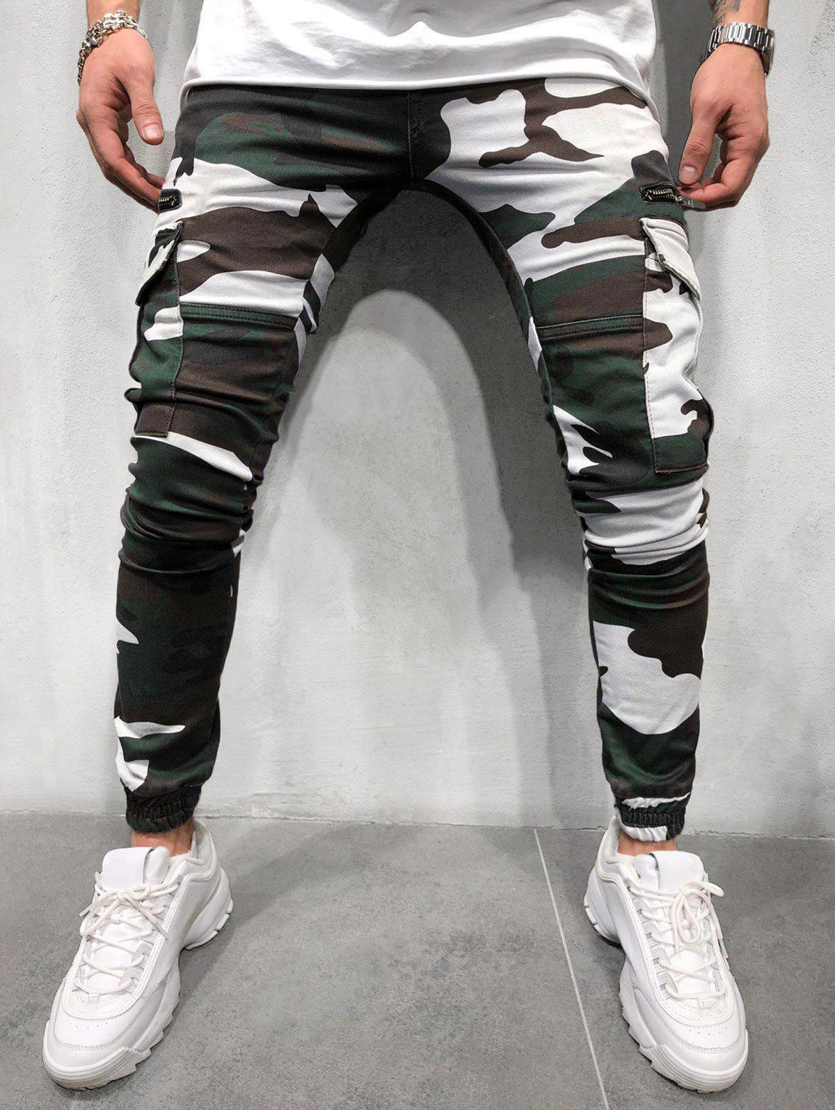 Online Camouflage Print Side Flap Pocket Cargo Jogger Pants
