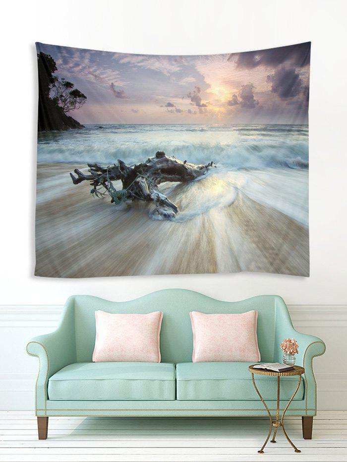Latest Sea Beach Wood 3D Print Wall Tapestry