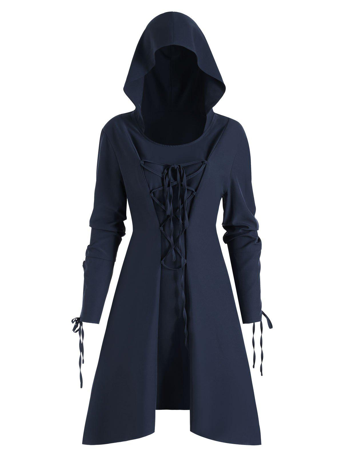 Discount Skirted High Low Lace Up Pullover Plus Size Coat