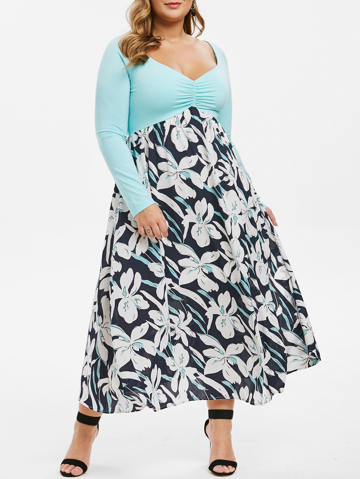New Plus Size Pleated Front Raglan Sleeve Floral Dress