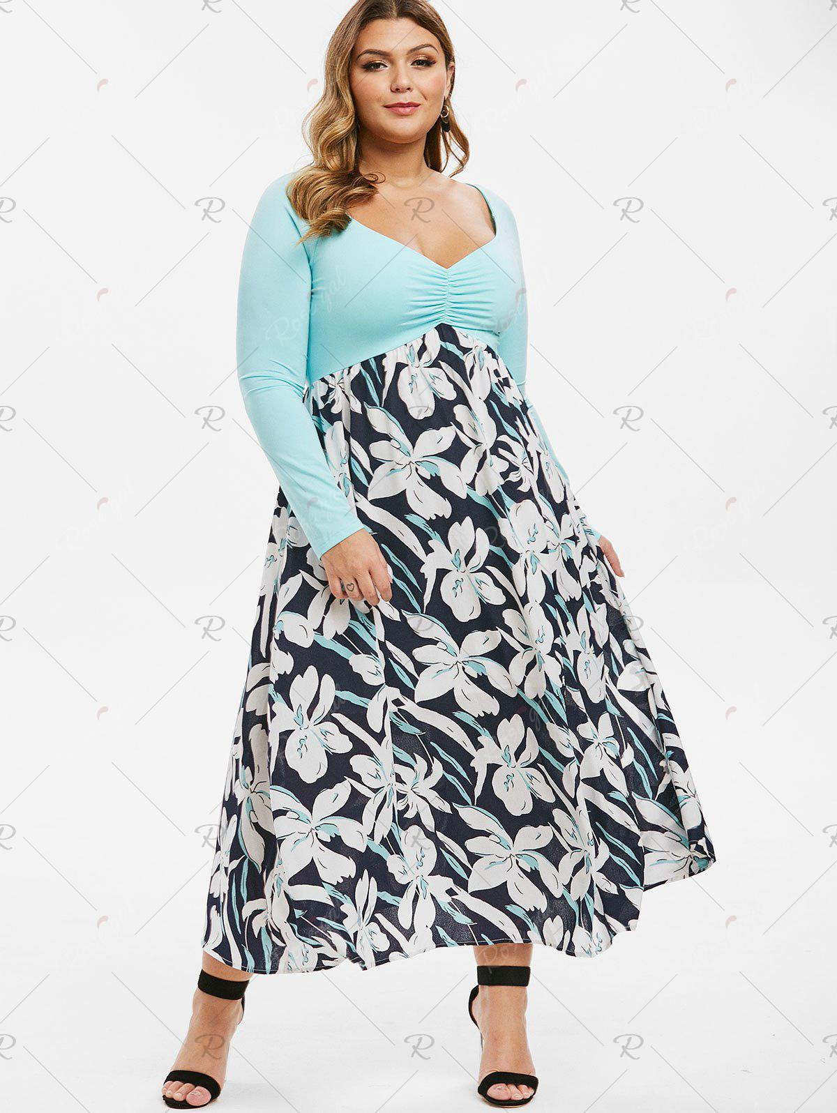 Plus Size Pleated Front Raglan Sleeve Floral Dress