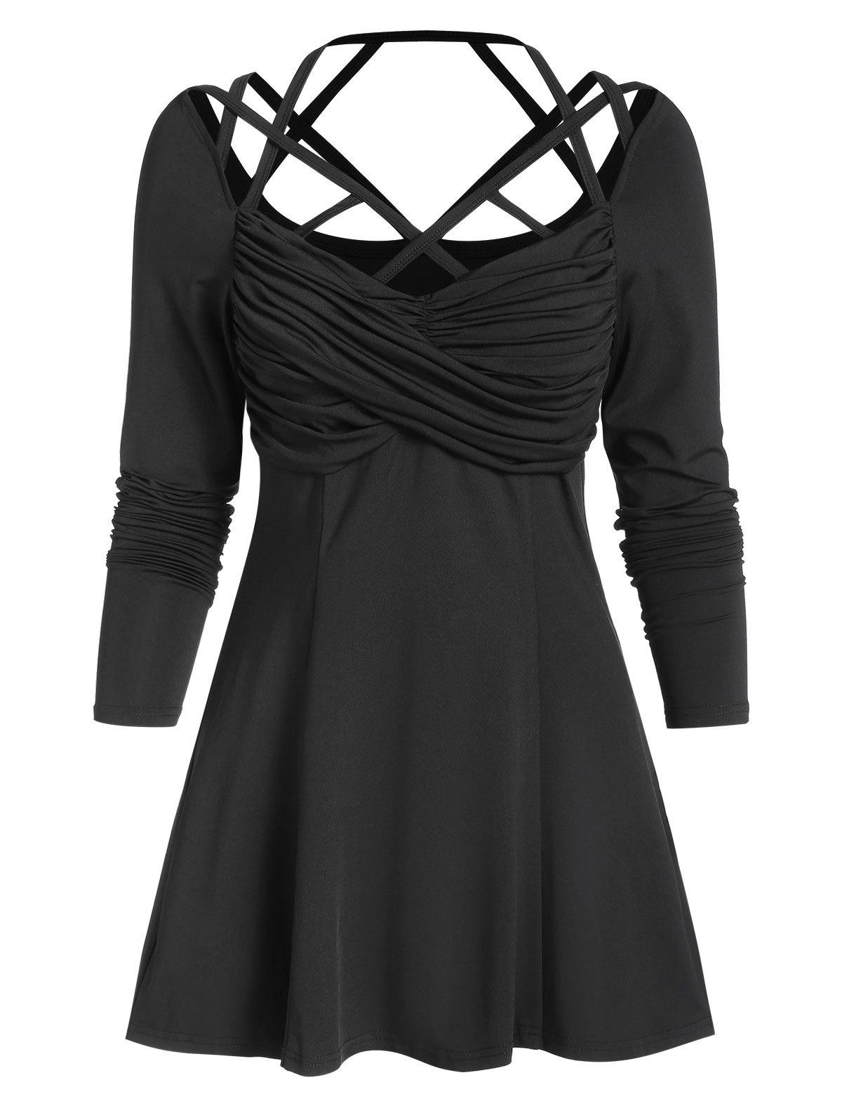 Trendy Long Sleeve Strappy Ruched Front Flare T-shirt