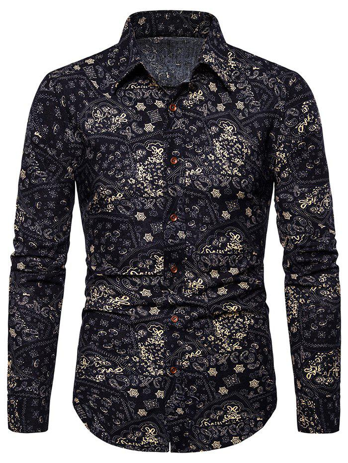 Fancy Tribal Print Button Up Long Sleeves Shirt