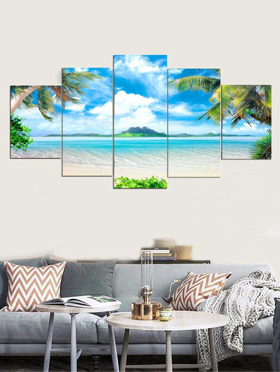 Best 5Pcs 3D Beach Trees Hanging Wall Painting
