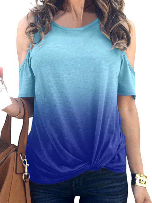 Online Cold Shoulder Ombre Twist Hem T Shirt