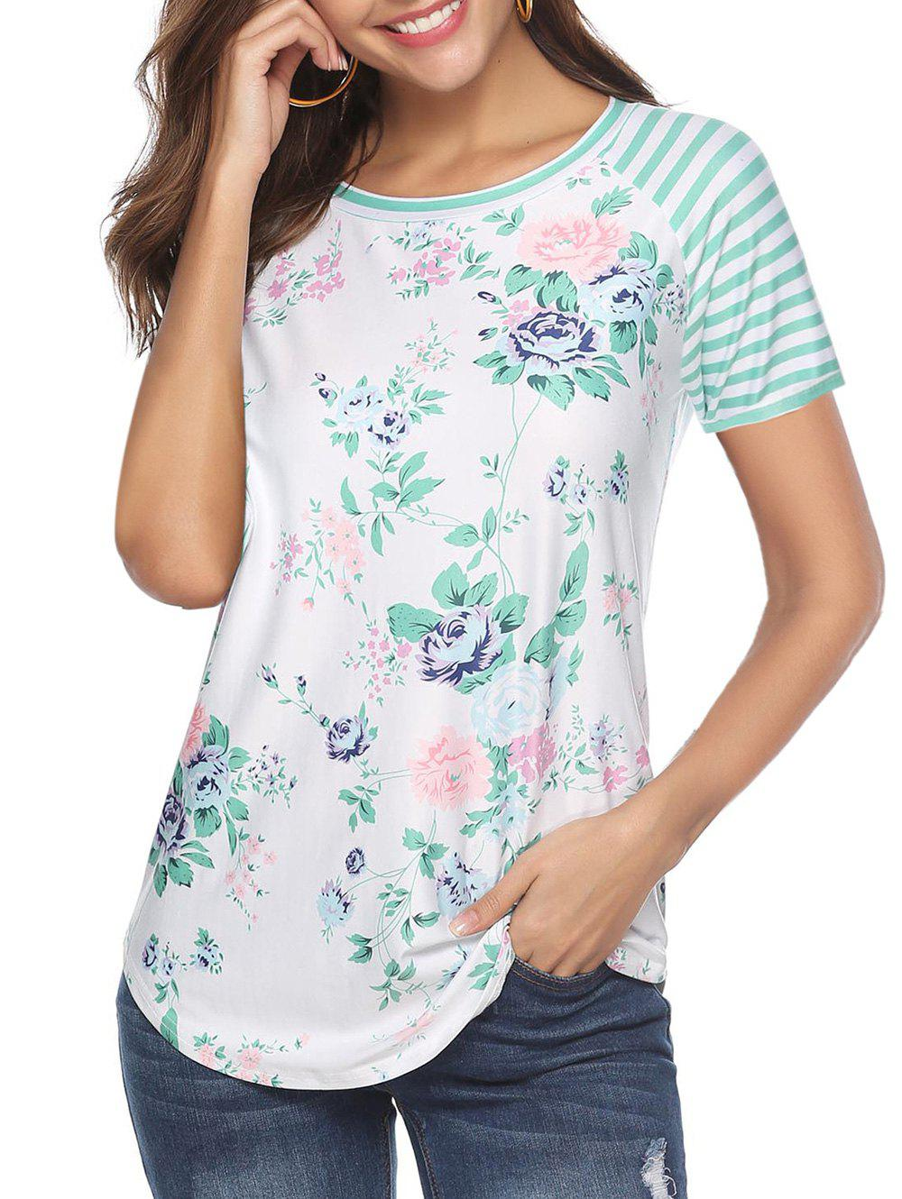 Fancy Floral Print Striped Round Hem Tee