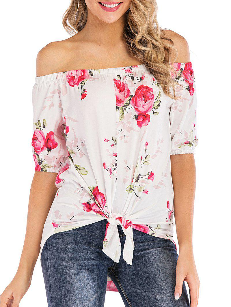 Fancy Off Shoulder Floral Print High Low Tee