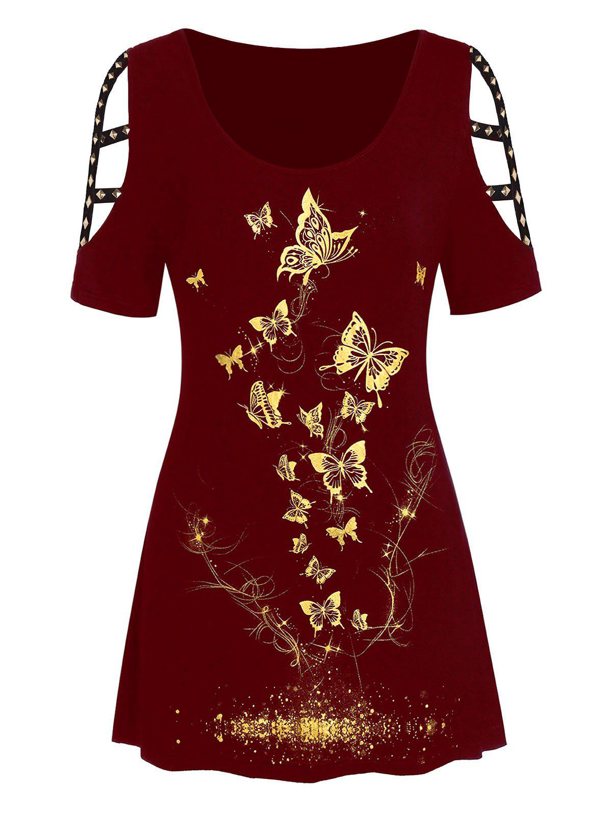 Affordable Plus Size Metallic Butterfly Print Cut Out Rivet Tee