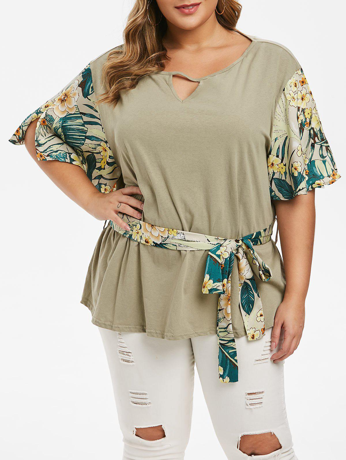 Affordable Plus Size Floral Sleeve Belted Keyhole T-shirt