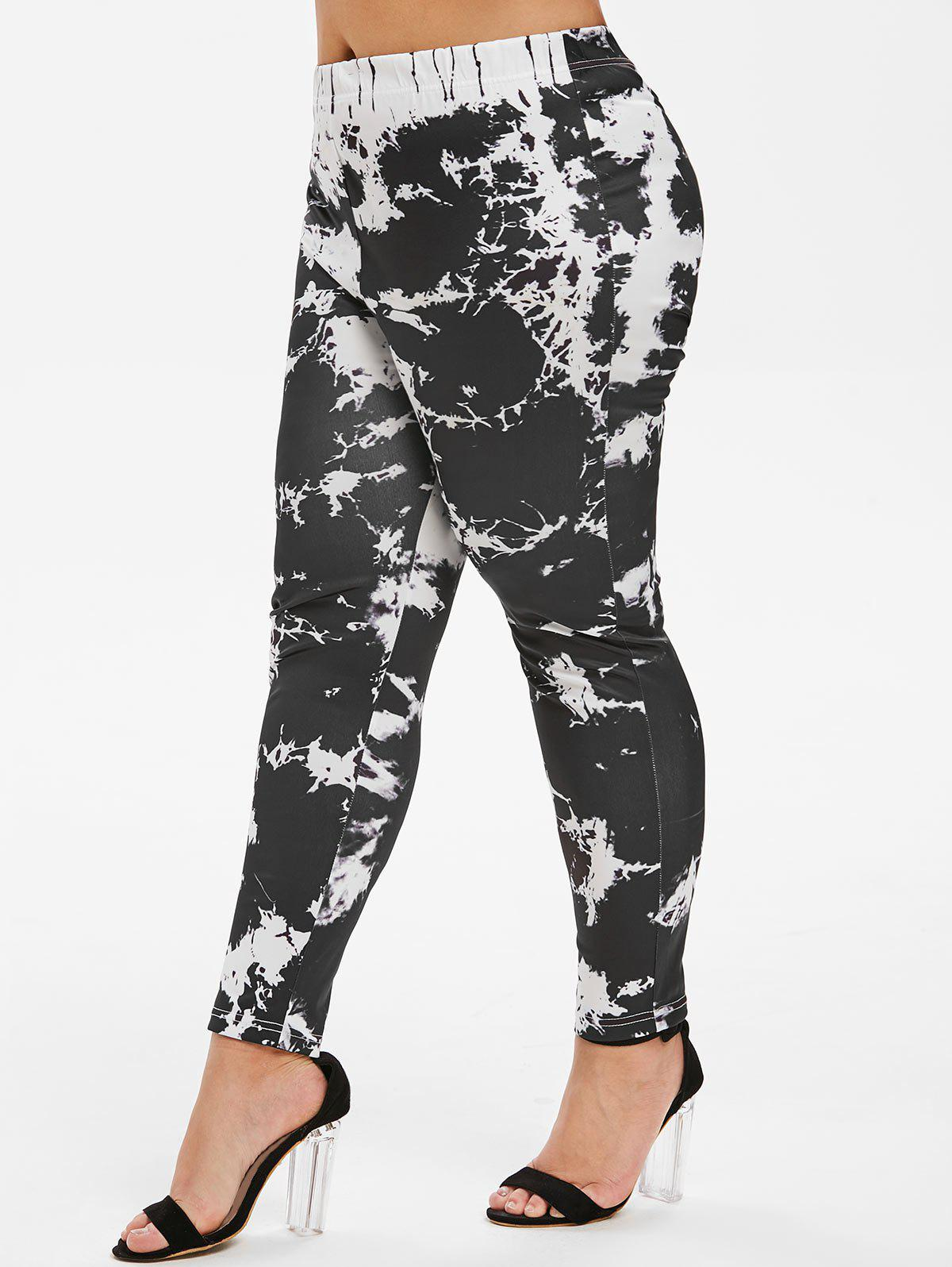Buy Marble Print High Waisted Skinny Plus Size Pants