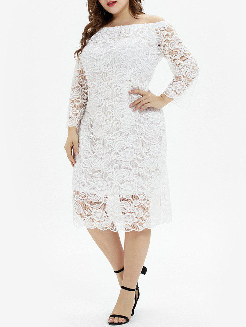 Outfits Plus Size Off The Shoulder Lace Midi Party Dress