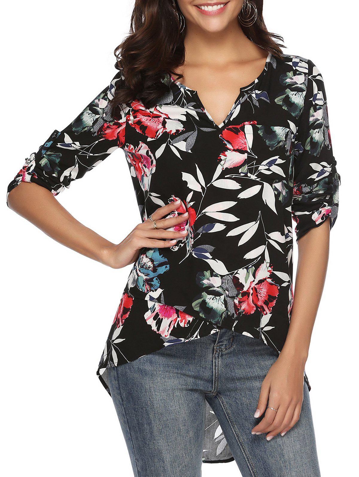 Outfits Roll Tab Sleeves Floral Print Pocket High Low Blouse