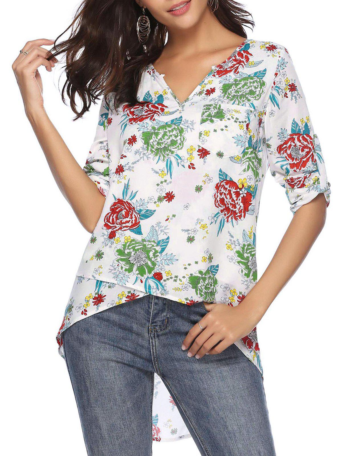 Chic Roll Tab Sleeves Floral Print Pocket High Low Blouse