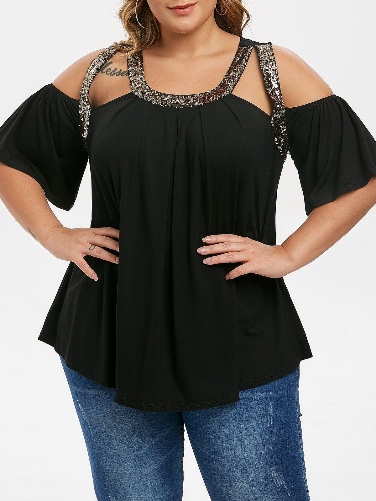 Affordable Plus Size Sequined Open Shoulder Cut Out Tunic Tee