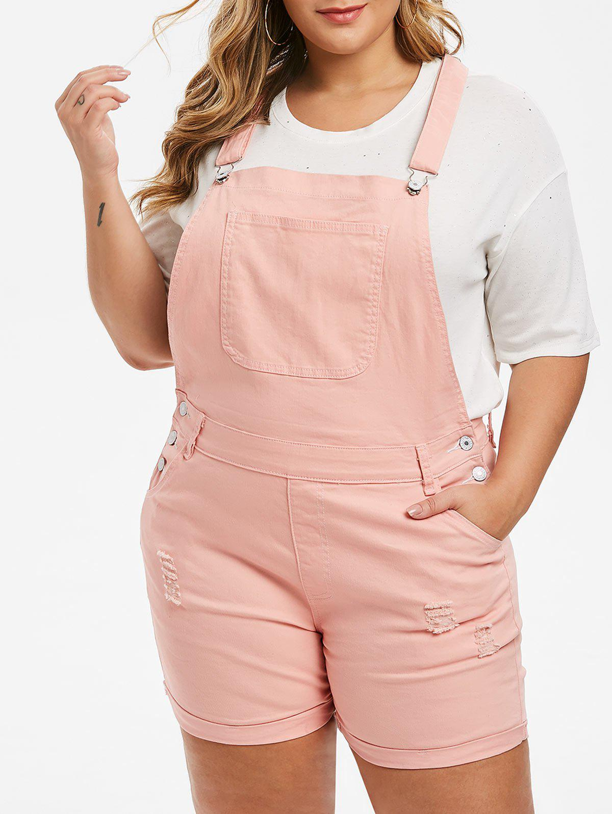 Discount Plus Size Cuffed Distressed Denim Overall Shorts
