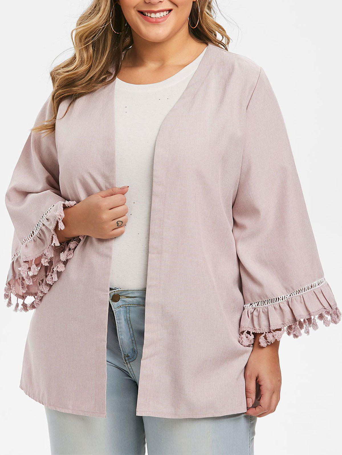 Cheap Plus Size Open Front Tassels Sleeve Solid Color Jacket
