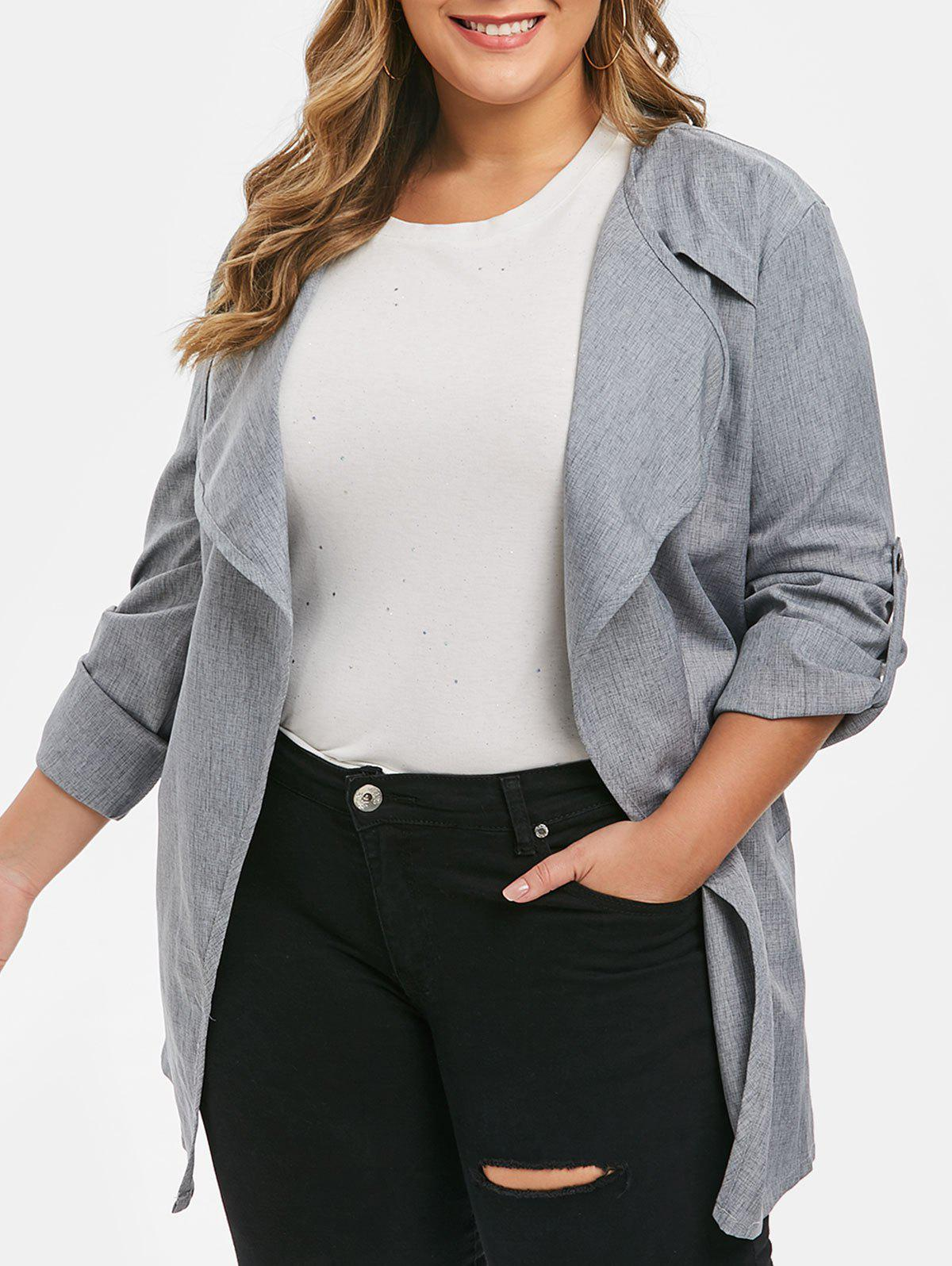 New Plus Size Open Front Belted Rolled Sleeve Long Jacket