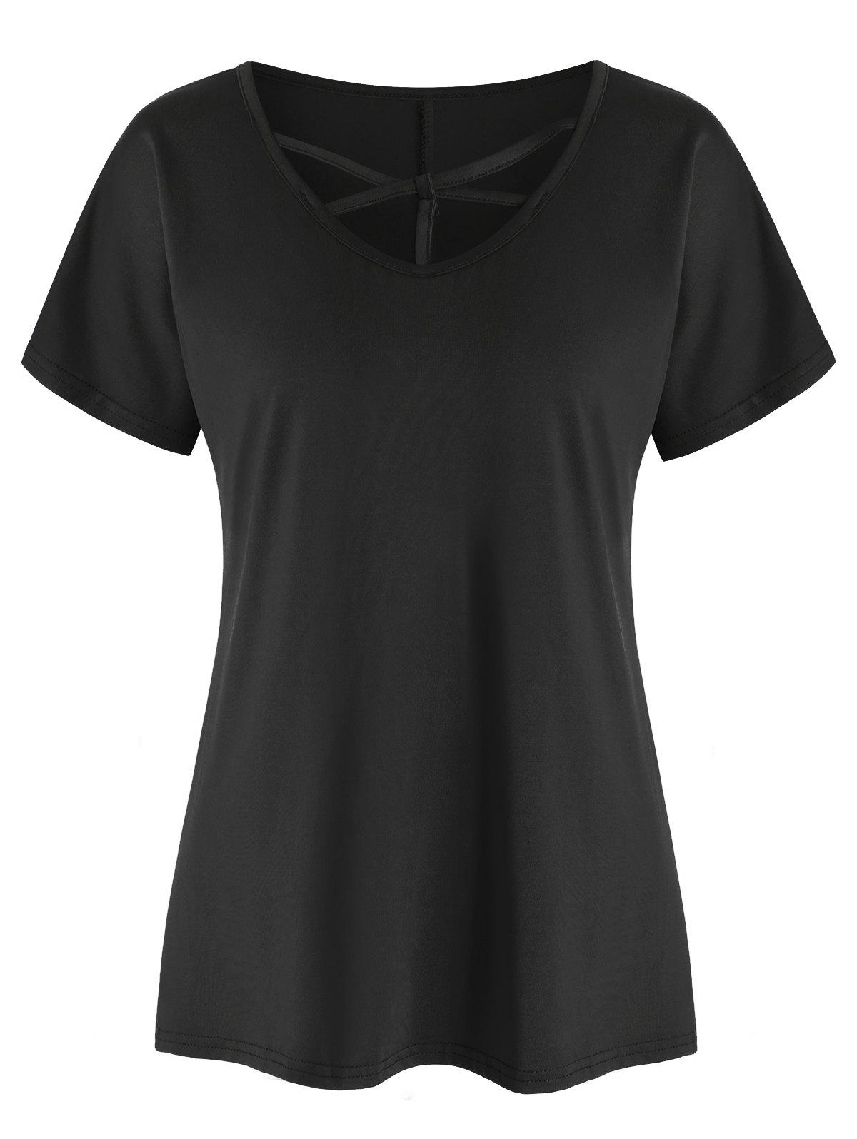 Store Criss Cross Solid Short Sleeves Tee