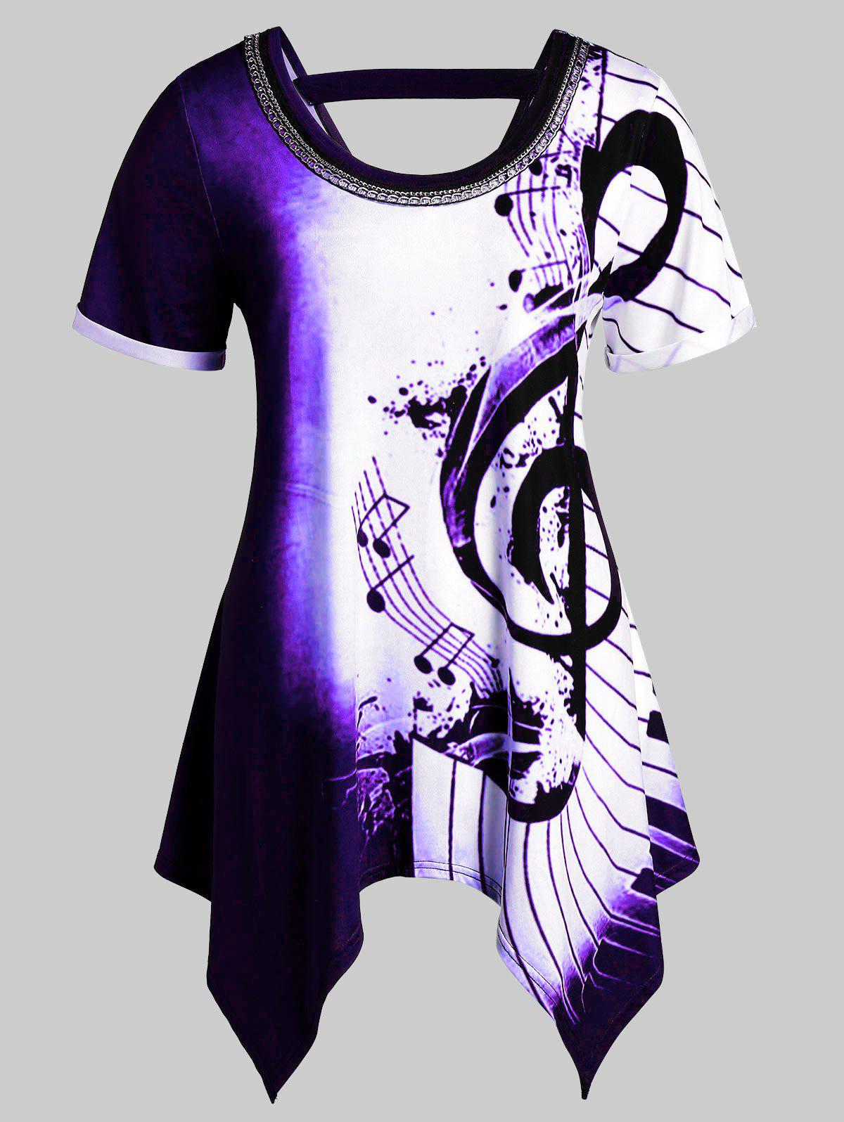 Latest Plus Size Musical Notes Print Handkerchief Chains Embellished Tee