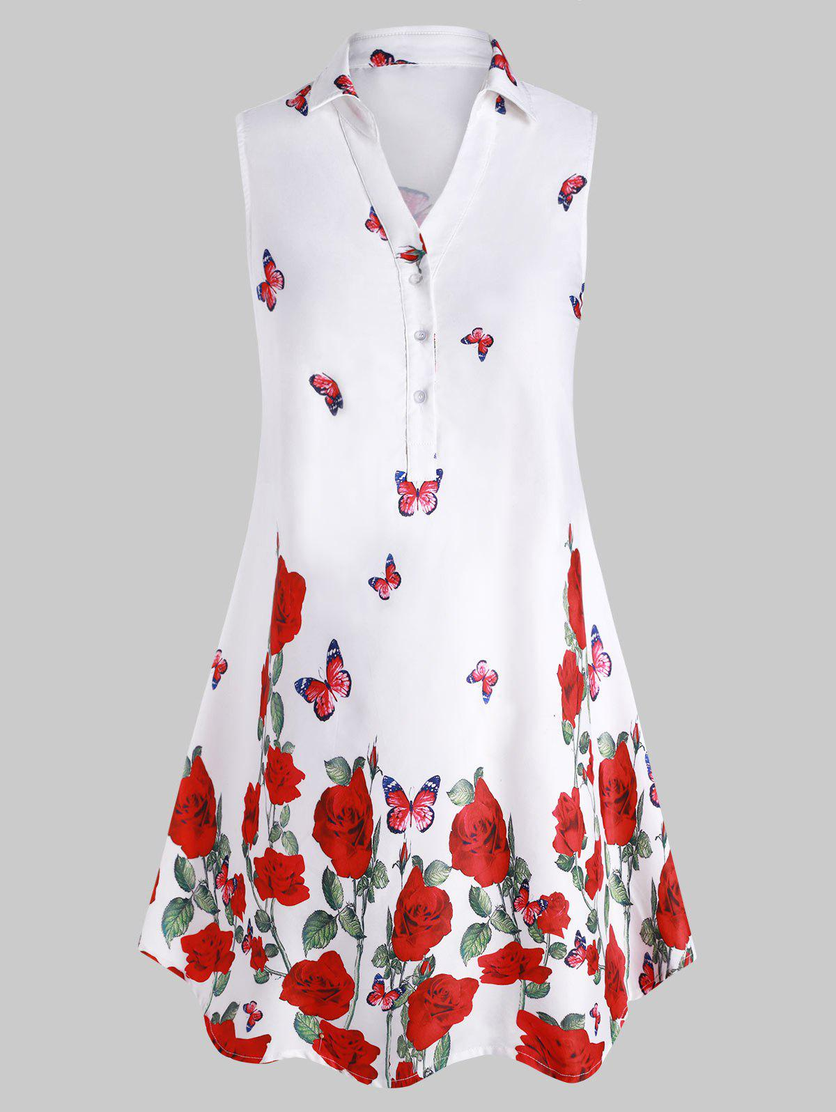 Cheap Plus Size Sleeveless Butterfly Print Graphic Blouse