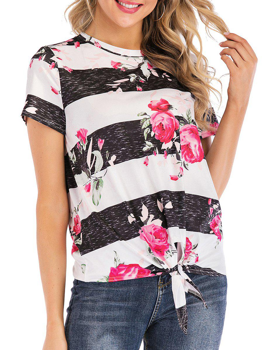 Outfits Floral Print Knotted Short Sleeves Tee