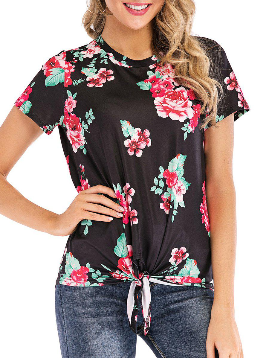 Store Floral Print Knotted Short Sleeves Tee