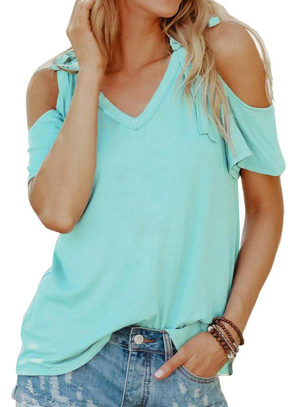 Hot Tied Cold Shoulder Solid Tee