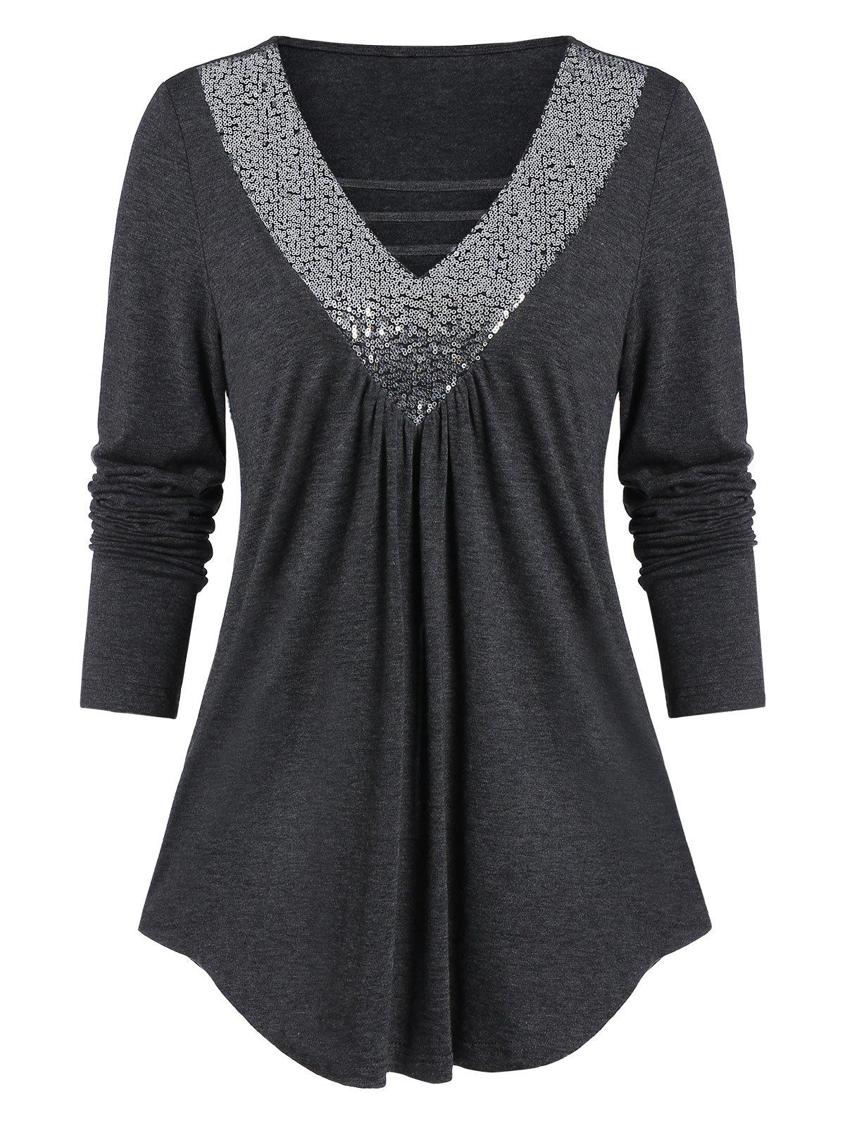 Outfits Long Sleeve Sequined Flare T Shirt